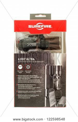Winneconne WI - 15 Jan 2016: Package of a Surefire flash light that mounts to weapons that allow the user to see his target in the dark.