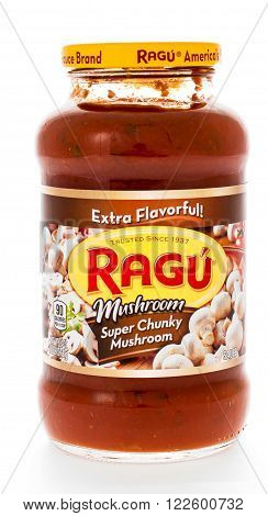 Winneconne WI - 7 February 2015: Jar of Ragu Mushroon Super Chunky flavored pasta sauce.