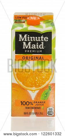Winneconne WI - 26 Feb 2016: Container of Minute Maid orange juice
