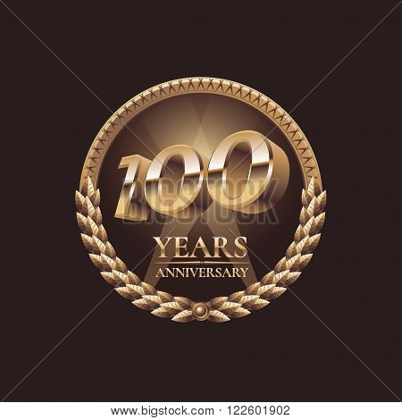 100 years anniversary vector icon. 100th celebration design. Golden jubilee symbol