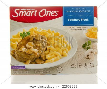 Winneconne WI - 2 March 2016: Box of Smart ones salisbury steak meal by weightwatchers.