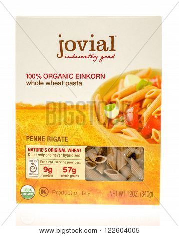 Winneconne, WI - 19 Nov 2015: Box of Jovial 100% organci whole wheat pasta