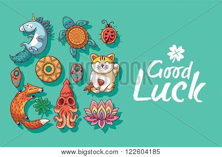 Good Luck. Collection of happy icons - unicorn, turtle, ladybug, coin, foxes, clover, lotus, maneki neko. Lucky icons and design elements isolated on green background