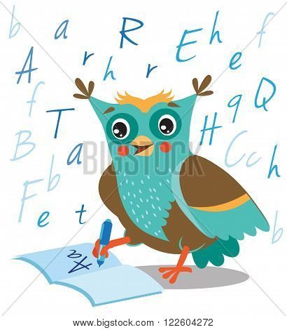 Funny Owl Learn To Write In A Notebook On A White Background. Cartoon Vector Illustrations. Owl Picture. Owl Memes. Owl Jokes. Owl Sayings. Owl Champion. Owl Gifts. Owl Toy. Owl Sticker. Owl Costume.