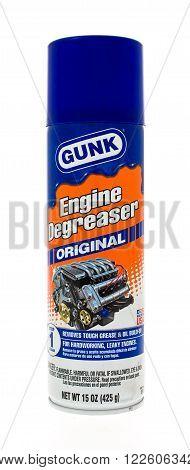 Winneconne WI - 25 April 2015: Spray can of Gunk engine degreaser in original.