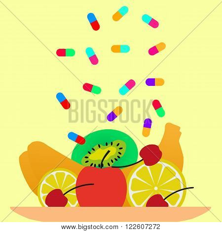 Vector illustration of a concept of beriberi. Avitaminosis without fruits.
