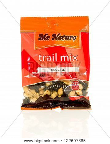 Winneconne, WI - 17 Feb 2016: Bag of Mr. Nature trail mix that is unsalted