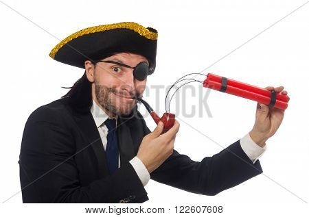 Pirate businessman with smoking pipe and detonator isolated on w