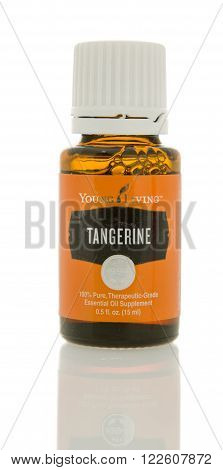 Winneconne, WI - 10 Feb 2016: A bottle of Young Living tangerine oil