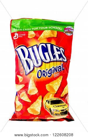 Winneconne, WI, 9 April 2015: Bag of Bugles which is owned by General Mills.