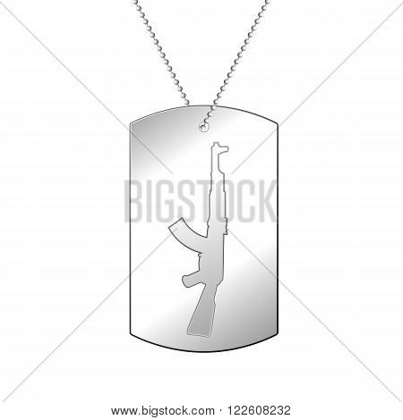 Vector illustration of a soldier's silver medal. Soldier badge.