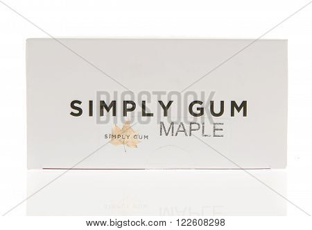 Winneconne WI - 2 March 2016: Box of Simply Gum chewing gum in maple flavor.