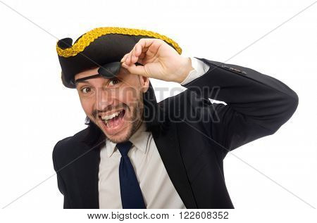 Pirate businessman wearing tricorn isolated on white