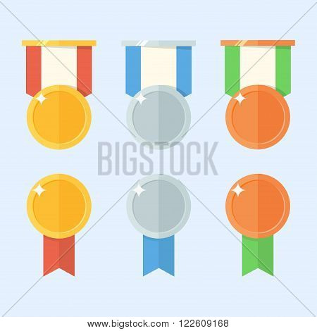 Medal vector set. Gold medal silver medal bronze medal. Medal icon in flat style. Medal badge for web. Medal design. Medal isolated on a background. Medal with ribbon.