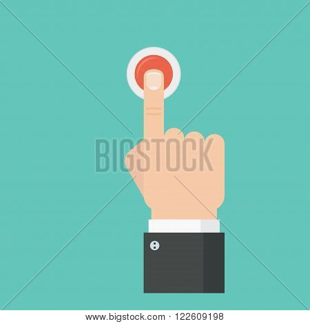 Pressing button. Pressing finger on red button. Push button concept. Hand pressing the red button. Press button design. Man pressing button.