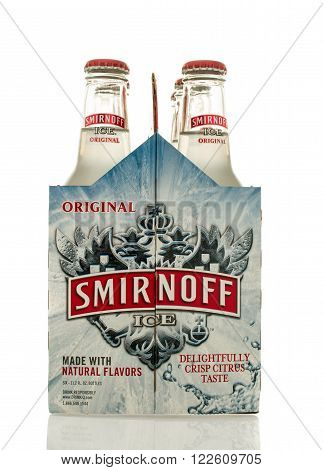 Winneconne WI - 2 March 2016: A six pack of Smirnoff Ice in original flavor.