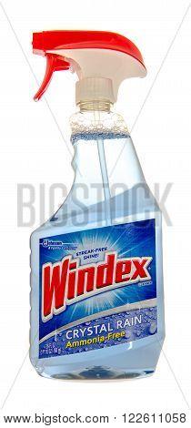 Winneconne, WI -31 Oct 2015: Spray bottle of Windex glass cleaner