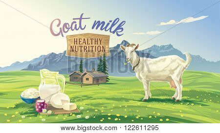 Mountain landscape with goat and set dairy product with village in background. Vector illustration.