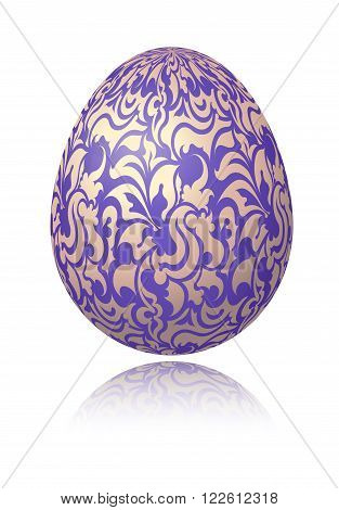 Bright Blue Easter Egg With Gold Decorative Floral Branch