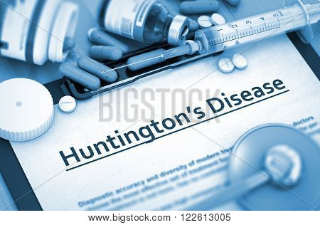 Huntington's Disease - Medical Report with Composition of Medicaments - Pills, Injections and Syringe. 3D Render.