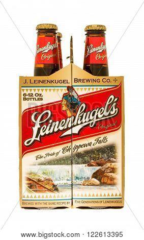 Winneconne WI - 21 Nov 2015: A six pack of Leinenkugel's original beer.