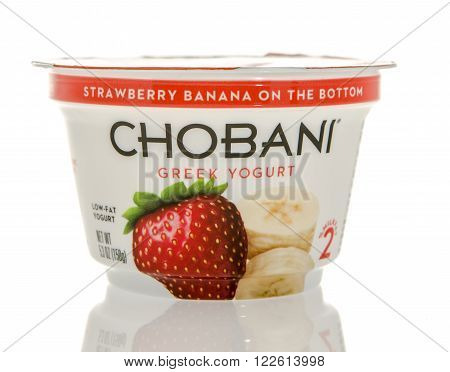 Winneconne WI - 26 Feb 2016: Container of Chobani Greek yogurt in strawberry banana flavor.