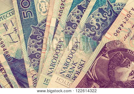 Polish Zloty Money Concept Closeup. Polish Zloty Banknotes.