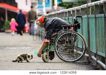 UZHGOROD - JULY 20 : disabled female beggar trying to feed a cat July 20 2008 in Uzhgorod Ukraine. Disabled female beggar in a wheelchair try to feed a cat while a family passed by thus shows a humanity standards of a modern society
