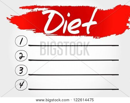 Diet blank list health concept, presentation background