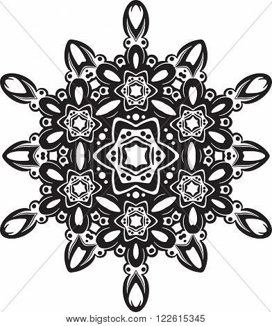 Abstract Black Vector Round Lace Design - Mandala, Decorative Element.