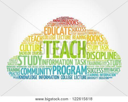 TEACH word cloud education concept, presentation background