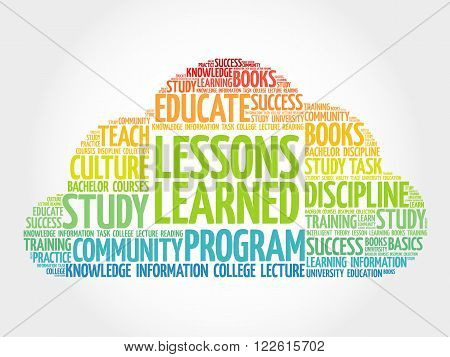 Lessons Learned word cloud education concept, presentation background