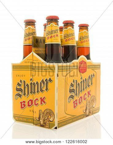 Winneconne WI - 26 Feb 2016: Six pack of Shiner Bock beer that is brewed in Shiner Texas
