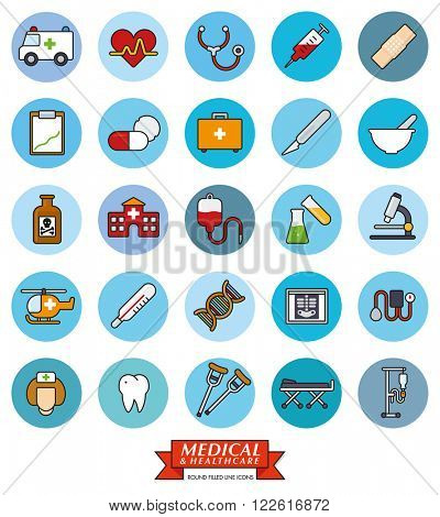Medical and healthcare related filled line icons in blue circles collection