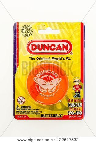 Winneconne WI - 5 Feb 2016: Package of the original Yo-Yo made by Duncan.