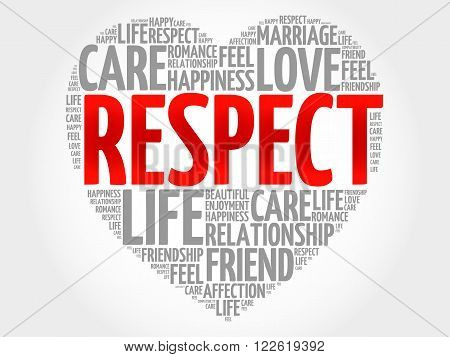Respect concept heart word cloud, presentation background poster