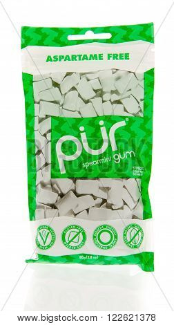 Winneconne WI - 2 March 2016: Package of Pur chewing gum in spearmint flavor.
