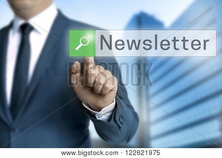 Newsletter Browser Is Operated By Businessman Background