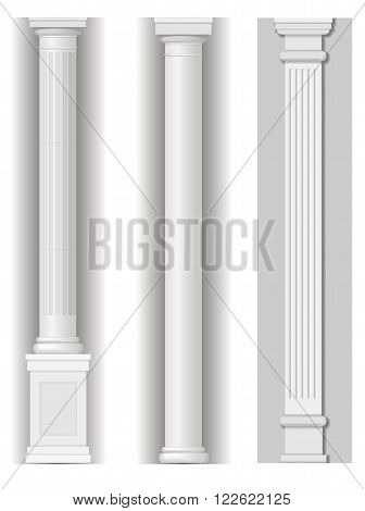 Classic antique white columns in vector graphics