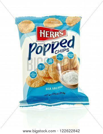 Winneconne WI - 17 Feb 2016: Bag of Herr's potato popped chips in sea salt flavor