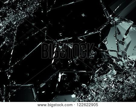 Shattered Glass Pieces On Black Background