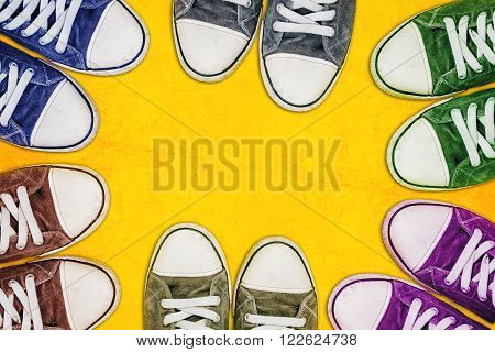 Group of young teenage people standing on the street urban youth lifestyle concept with copy space top view