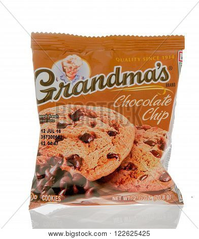 Winneconne WI - 1 March 2016: A package of Grandma's cookies in chocolate chip flavor