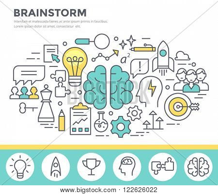 Brainstorm  concept illustration, thin line flat design