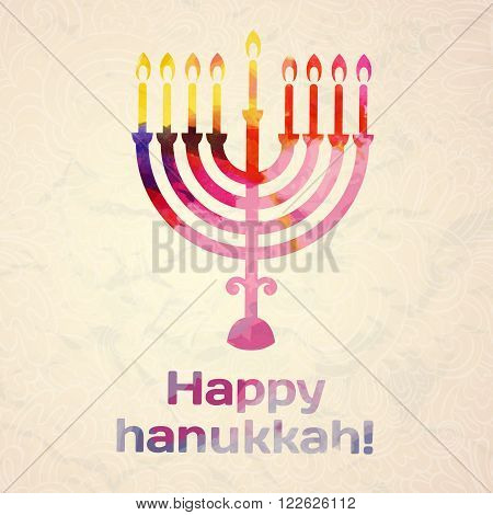 happy Hanukkah, Jewish holiday. Hanukkah menorah isolated on white