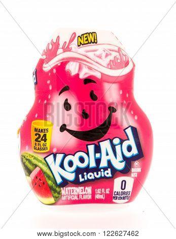 Winneconni, WI - 13 June 2015: Bottle of Kool-Aid Liquid in watermelon flavor.