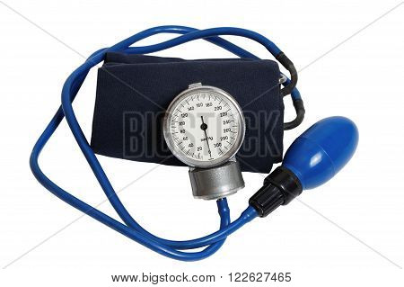 Medic instrument for measuring blood pressure - Professional Blood Pressure Kit with Pressure Cuff isolated on white