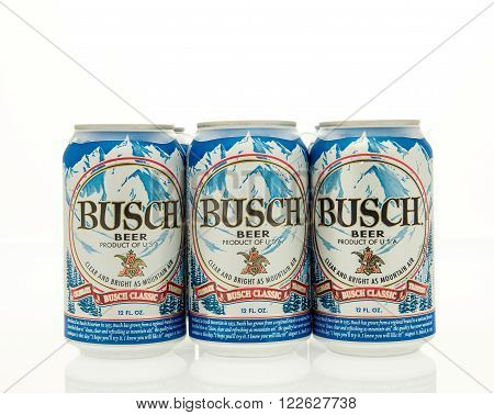 Winneconne WI - 15 March 2016: A six pack of Busch beer in cans.