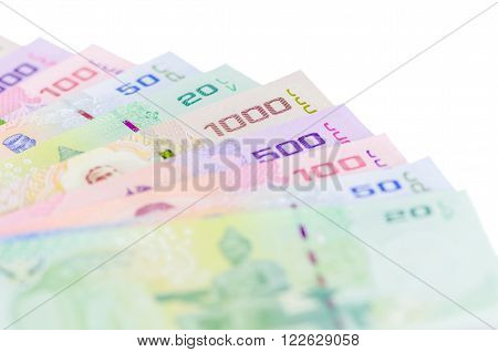 Thai baht money isolated over white background