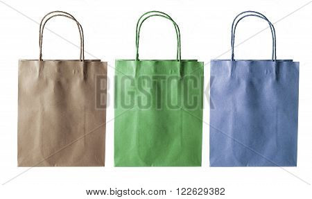Row of Paper Bags on White Background